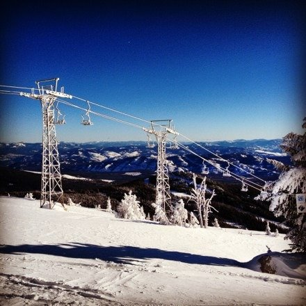 No lift no problem, alpine touring and every runs a powder run:)