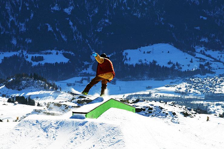 Flat Down Rail - Snowpark Laax - © Stefan Drexl