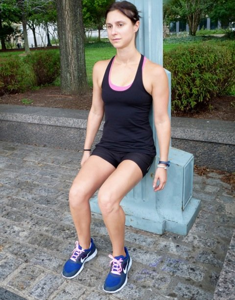 11. Wall squats: rest your back against a wall and squat to 90-degrees, keeping your feet parallel. Hold for 30 seconds working up to two minutes. This exercise builds strength in the quads, hamstrings and gluteal muscles. - © Danielle Shapiro