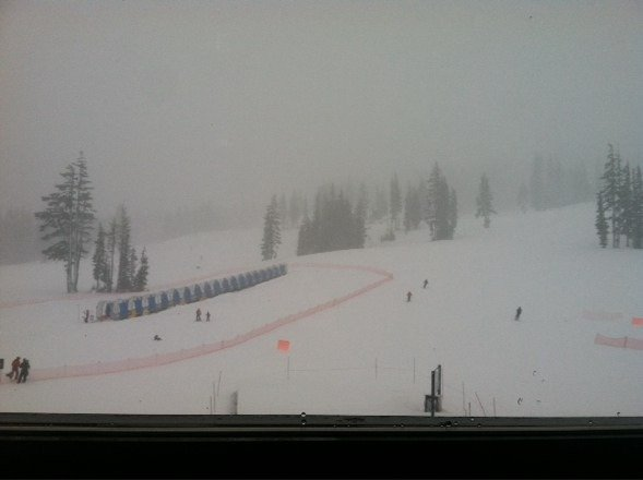 Snowing and blowing hard