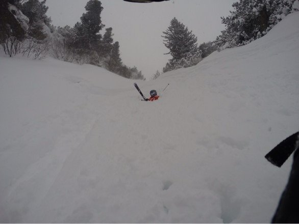 It is dumping snow here.  The gullies are waist deep!
