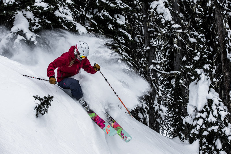 Days after the last storm, there were still bits of soft powder in the north facing Greely Bowl. Skier Amie Engerbretson - © Liam Doran