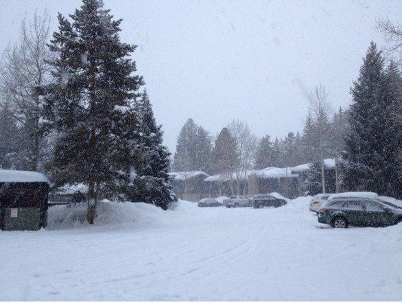 It's snowing buckets on a Sunday night. Not cool, Snow Gods.