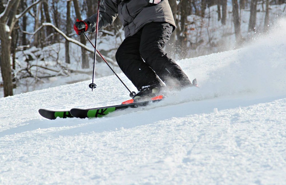 A skier gets a nice edge at Mountain Creek. - © Mountain Creek