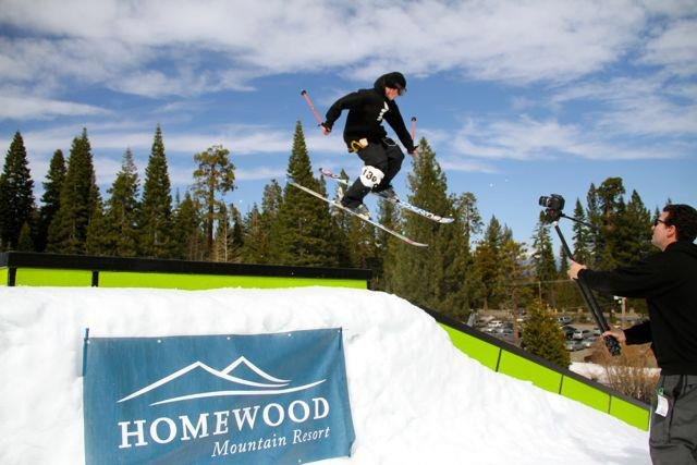 Skier, Danner Pickering, spins over a feature at the first annual Homewood Rail Jam.
