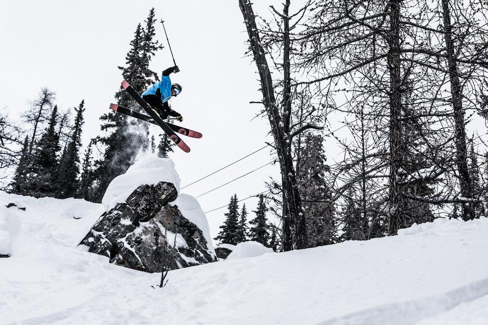 Ben Evely having fun at Lake Louise. - © Liam Doran