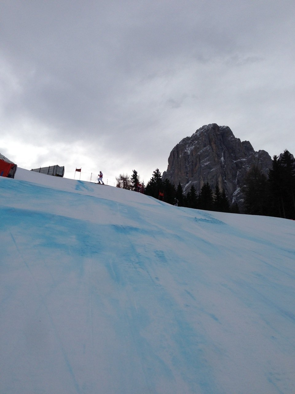 Looking back up at the takeoff of the Camel Jumps, Val Gardena.  - © Travis Ganong