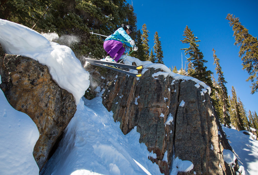 This past fall, after years of living in Aspen, Darcy took up residence slope side in Snowmass. While she still considers herself primarily an Aspen Mountain skier, she's spending more time exploring her backyard hill like this pillowy line in Rock Island. - © Jeremy Swanson