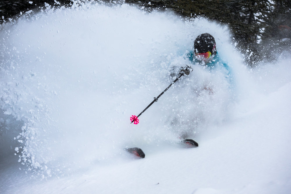 It snowed nearly the entire week up at Sunshine Village in early January. Keegan Capel finds deep powder all over. - © Liam Doran