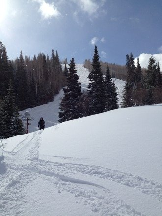 Snow last night and throughout the day with strong winds last PM. The fresh stuff helped the conditions a lot! Don't have to look hard to find the windblown powder staches. Great day on the mountain