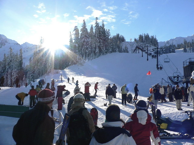 Skiers ready to go at Mt Baker, WA