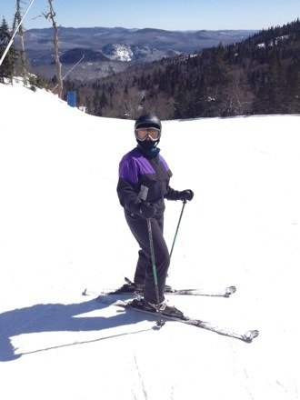 Awesome day on the slopes with the warmer temps (20's oF). Best day skiing for my beautiful Massachusetts Wife.