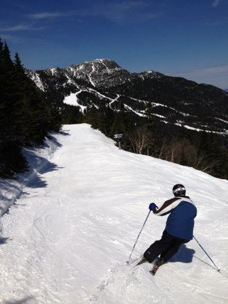 Perfect day to close down Stowe! 55 degrees and sunny, glorious spring conditions, tons of snow that could have taken them well into may.  Enjoy this shot of nosedive with the Chin in the background.  See you next winter my love! Happy Easter all!
