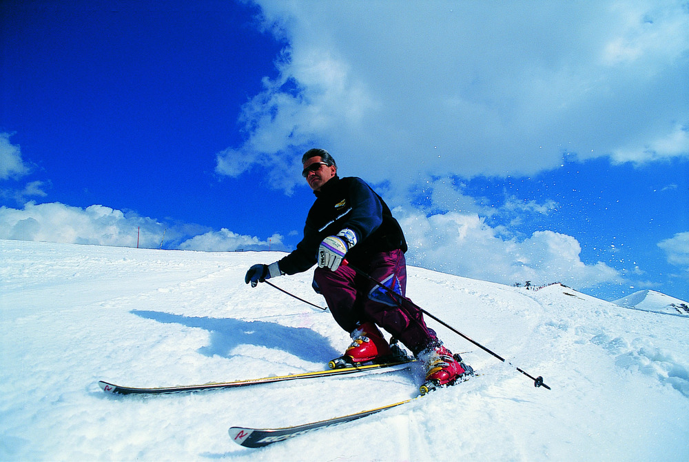 A skier at St. Lary/Soulan, France.