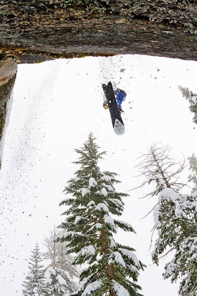 Jordan cliff jumping at Sierra-at-Tahoe. - © Nathan Vetter