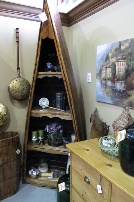 Just off I-70, Ski Country Antiques & Home is full of unique pieces, like this 1/2 canoe shelf.  - © Heather B. Fried
