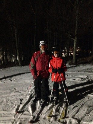 My brother and nephew enjoying the evening at the mountain. Conditions were pretty damn good for being all machine made. No lift lines and the usual excellent food in Slocum Hollow. The snowmaking arsenal is definitely underway. Bring yo googles.