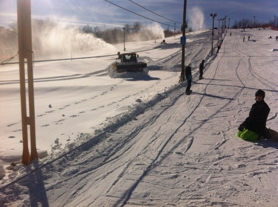 Four of five runs open now. Blowing snow 24/7 grooming with our new machine! Also check out the new pub called Base Camp. It is awesome!