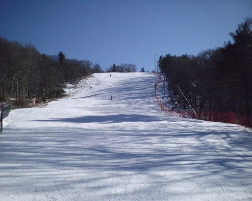 Yesterday I visited Blue Hills Ski Area in Canton, MA. The conditions were about as perfect as you could ask for for packed powder skiing! There were 3 main ways down from the summit; Big Blue, Patriots Path, and glades off of Patriots Path. It was in the teens to lower 20s and clear the whole day. There was a suprising amount of natural snow, compared to what I have at home, which allowed for some gladed areas to be open. The manmade base had a nice coating of natural snow from a day before and the grooming was amazing (better than I have seen at places like Sunday River or Wildcat on a similar day)! The crowds never got too bad and the lift line was about 4 minutes at longest (for about half an hour around 2:00) (about 50% of the time the double was ski-on). There was no ice then whole day and the snow never got pushed into soft moguls either. From the ski area there were great views west, northwest, and southwest. Around mid-day I took off my skis and walked a quarter mile to the summit and then to the observation tower to get views east, northeast, and southeast. I would say that it was probably my best day skiing on packed powder ever! Blue Hills is a good deal for being so close to Boston ($40 for 12 hours of skiing) and they manage their snow very well. They also do a great job of seperating the novice learning area from the main lift. I hope to return when they are closer to 100% open because some of the other terrain in the woods and under the chairlift looked very fun.