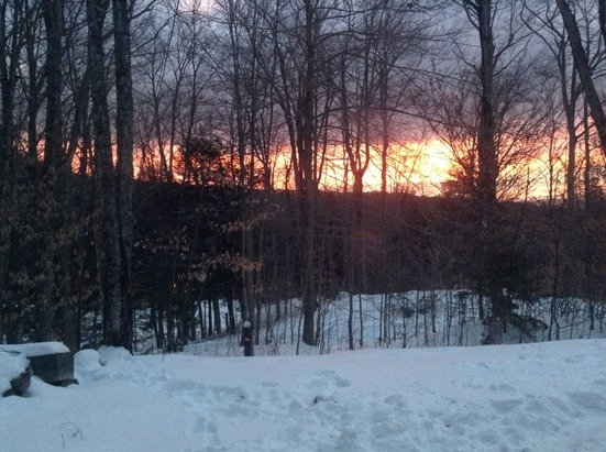 Beautiful sunset here this morning! Skiing is great…some of the best there's been all winter. The main trails are getting a little bit skied out, but the conditions still are pales power and not ice. If you get into the woods, there's still lots of snow to be taken!