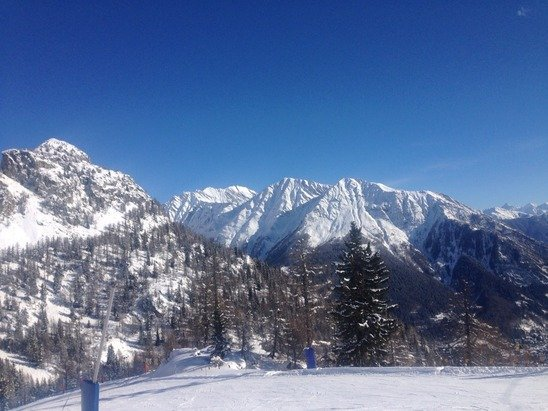 Spectacular views  And wicked skiing  First day of sun all week but snow again tomorrow