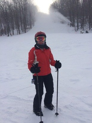 Great day of skiing.  No lift lines and it snowed pretty heavy from 11-3.  Skied Cathedral Brook two times and patrol opened up lift line and Utsyantha. Skied 15 runs and would have liked to ski more but our legs were gone.  Best day of the new year.