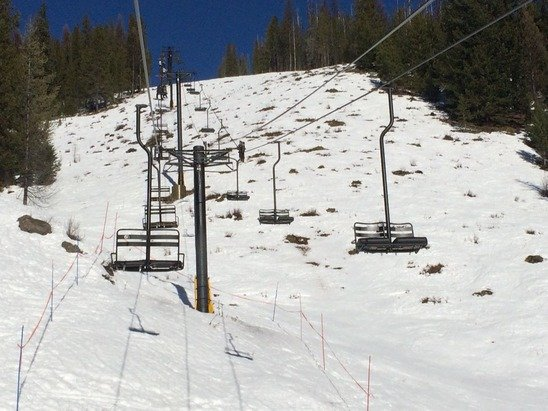 A lot has melted in this really early spring we seem to be stuck in. Pretty bad on the lower parts of chair 2 but most everything on chair 1 is decent. Icy early on with loose spring snow later as the sun warmed it. The second star is for being a sunny day.