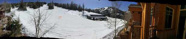 Deer Valley Resort - Springtime conditions. I tad Ivey until 10 and then solid spring conditions until 3pm. Flagstaff mountain snow is great. Sort mashed potatoes but very easy to ski. Stay high  - © Bryan Lewis's iPhone5