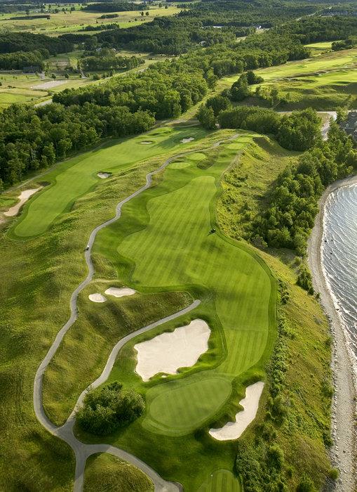 An aerial view of the third hole at Bay Harbor Golf Club, Boyne, Michigan.