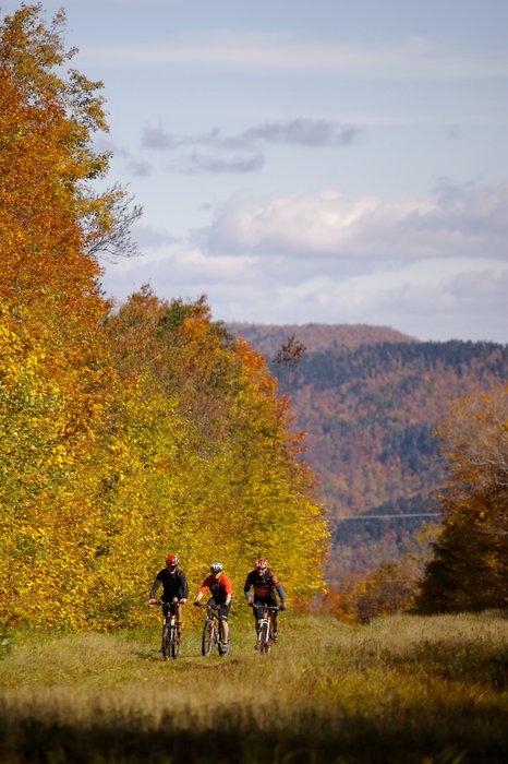 Mountainbikers at Killington in the fall.
