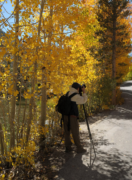 A photographer in the Mammoth Mountain area.