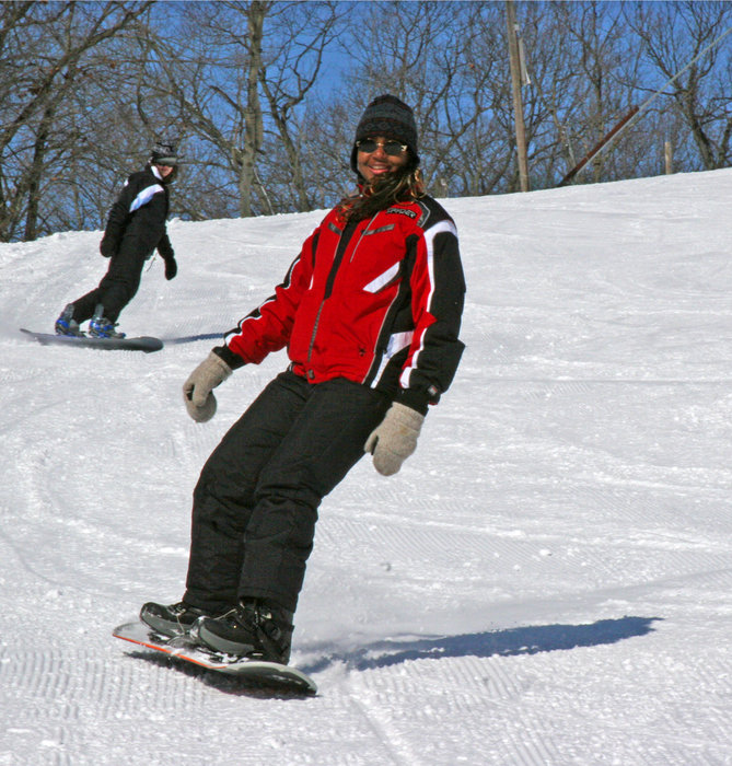 Pair of snowboarders at Wild Mountain
