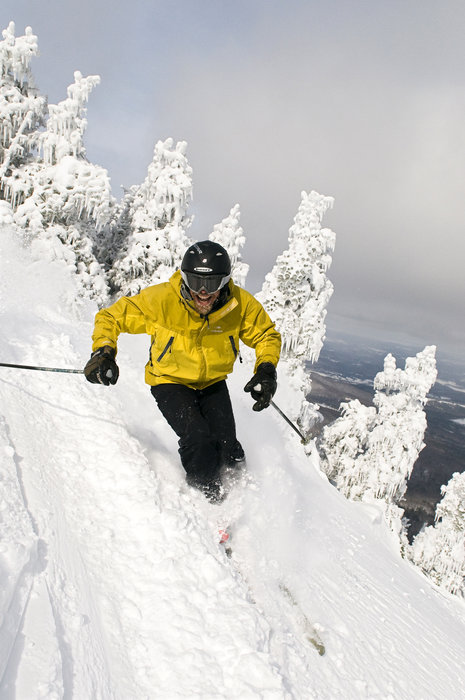 Skier at Smugglers' Notch, Vermont.
