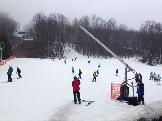 Shawnee Mountain Ski Area - Pretty decent on Saturday.. Drizzled most of the day but the snow held it well. Overall not bad with a decent amount of trails open. Good times on Saturday.  - © Scott Tanner's iPhone