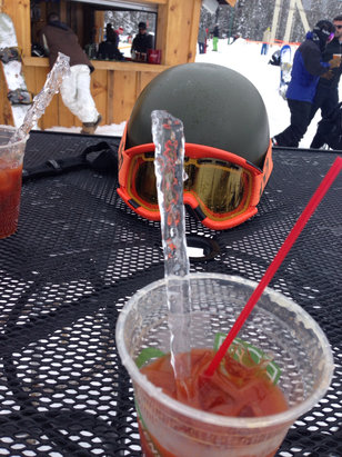 Ski China Peak - Saturday 1/9 we were the 1st ones up chair 1.  Got fresh tracks.  Groomers were great!  Found a powder stash on Cop Out. Had a very tasty Bloody Mary and used an icicle to stir it with. - © iPhone