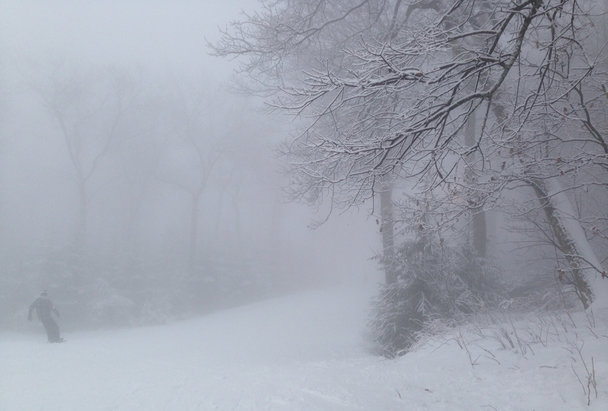 Elk Mountain Ski Resort - Good coverage but sticky snow.  Visibility was really bad due to fog.  Some rain at the bottom and snow at the top midday.  Not too crowded for a holiday weekend.   - © [! skireport_default_author ]