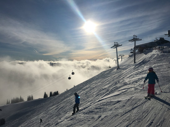 """Crystal Mountain - Incredible day! Amazing sunshine and visibility in the morning. The 4"""" they got was just enough to make the groomed runs gloriously fast, a great day for flying down the slopes! A few spots were rough underneath, but overall a great day!! - © Joel"""