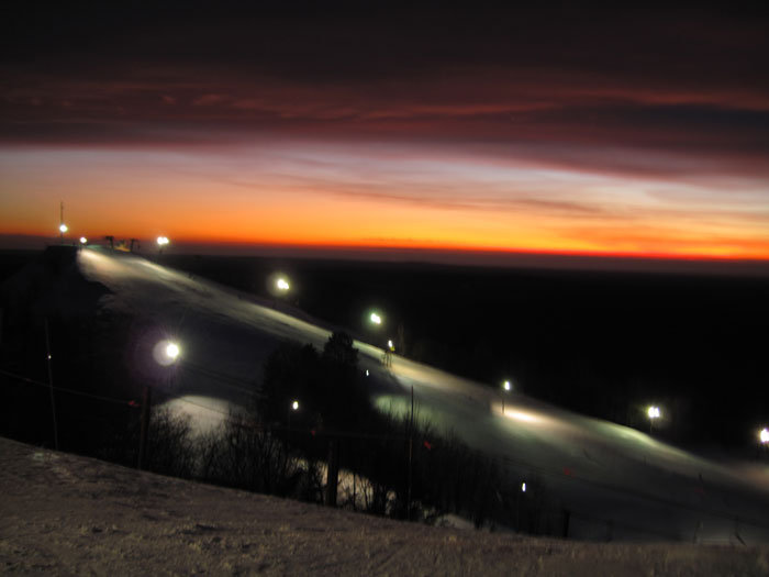Caberfae Peaks, MI lit for night skiing.