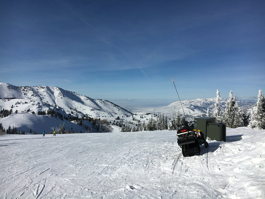 Powder Mountain - Beautiful blue sky day temps in the hi 20's.Conditions very good through out plenty of natural snow and I skied fluff still to be found - ©william phillips's iPhon