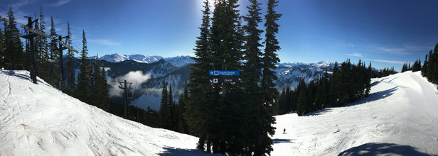 Stevens Pass Resort - Went yesterday, 2/9/15. No new snow, but it was soft in the sunny spots. Really nice on the wide open groomers but too crunchy through the trees. Spring skiing came early. No lines yesterday. Shred on, brother bears! - © Brother Bear