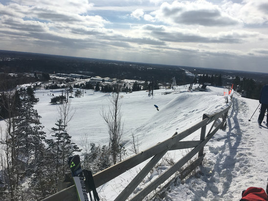Alpine Valley Ski Area - Cold morning (-4F), crisp corduroy. Sun was out and helped. Terrain parks nice, only hill I've seen in MI with a half pipe so far this year. Everest closed with racing most of the day. Overall, good day considering the poor winter in SE MI this year.  - ©AP Ski Team