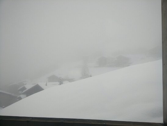 Zermatt - Whiteout today! View from the Matterhorn Focus Hotel. Fresh powder, can't wait to get out there :) - © sammygammy