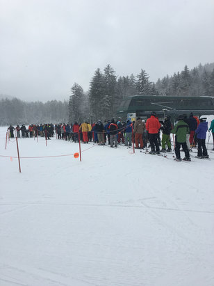 Snowshoe Mountain Resort - Several inches of snow between Friday night and Sunday until noon. This is the lift crowd at ballhooter about 10 am Sunday. Wonderful conditions but crowded. Warm up starting tomorrow. Spring conditions for sure! - © Jacqueline's Iphone
