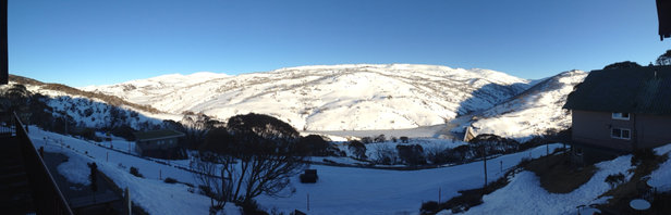 Perisher - View of the main range in the morning from Guthega. Great couple of days skiing at Perisher, but now warming up so might not last that long unless the forecasted snow arrives on the weekend.  - © RHiPhone