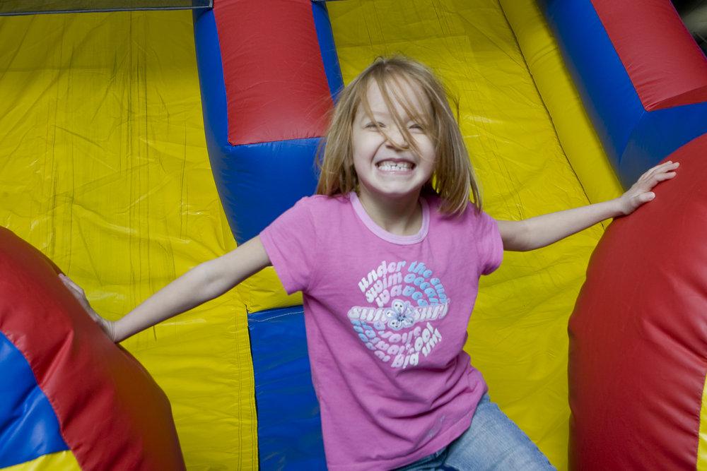 Kid at The Fun Zone at Cranmore, NH.