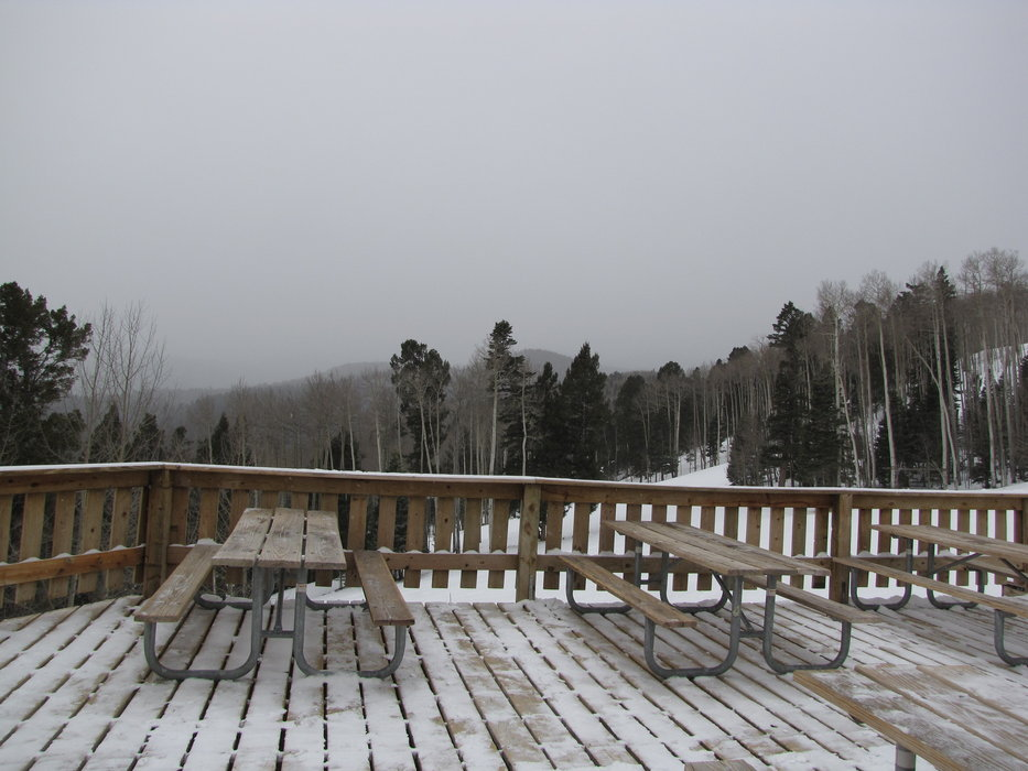 Snowy deck in Red River NM