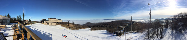 Beech Mountain Resort - They're doing their best, but it's still east coast December snow. No blacks are open, some mud on the blues that are.
