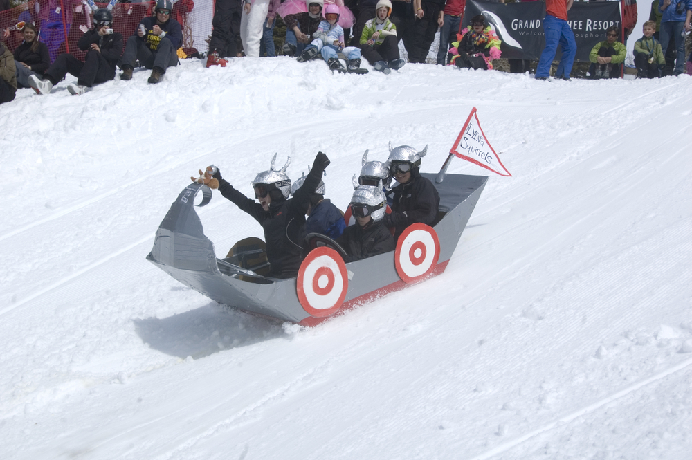 Cardboard box racers at Grand Targhee's finale weekend. Photo courtesy of Grand Targhee Resort.