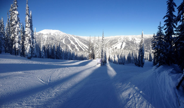 Sun Peaks - Spectacularly sunny day but chilly.  Hard packed comditions with skiffs of powder. - © B'siPhone5