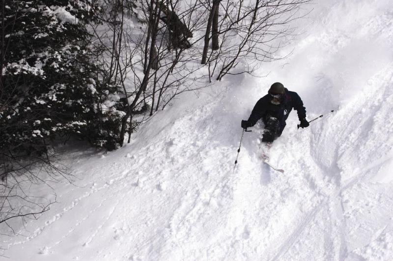 Telemark skier at Bolton Valley, VT.